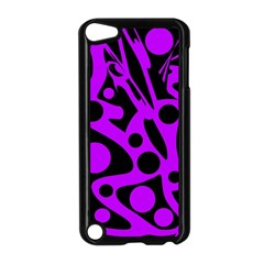 Purple and black abstract decor Apple iPod Touch 5 Case (Black)