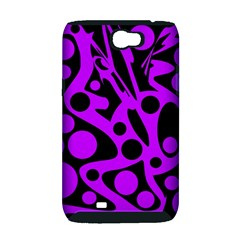 Purple and black abstract decor Samsung Galaxy Note 2 Hardshell Case (PC+Silicone)
