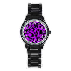 Purple and black abstract decor Stainless Steel Round Watch