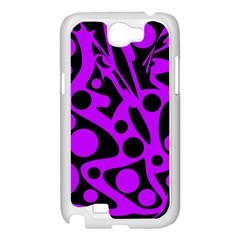 Purple and black abstract decor Samsung Galaxy Note 2 Case (White)