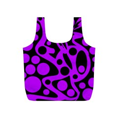 Purple and black abstract decor Full Print Recycle Bags (S)