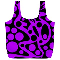 Purple and black abstract decor Full Print Recycle Bags (L)