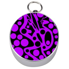 Purple and black abstract decor Silver Compasses