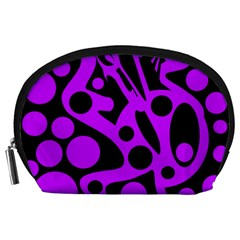 Purple and black abstract decor Accessory Pouches (Large)