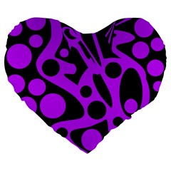 Purple and black abstract decor Large 19  Premium Flano Heart Shape Cushions