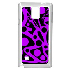 Purple and black abstract decor Samsung Galaxy Note 4 Case (White)