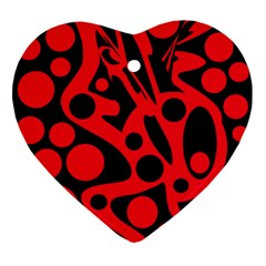 Red and black abstract decor Ornament (Heart)