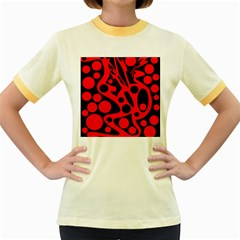 Red and black abstract decor Women s Fitted Ringer T-Shirts