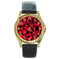 Red and black abstract decor Round Gold Metal Watch