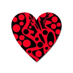 Red and black abstract decor Heart Magnet