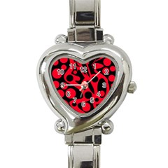 Red and black abstract decor Heart Italian Charm Watch