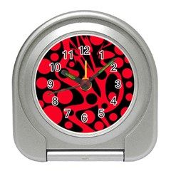 Red and black abstract decor Travel Alarm Clocks
