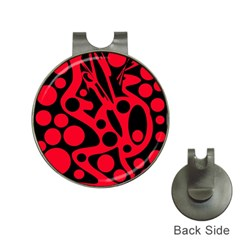 Red and black abstract decor Hat Clips with Golf Markers