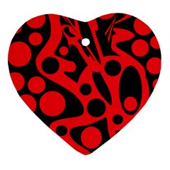 Red and black abstract decor Heart Ornament (2 Sides)