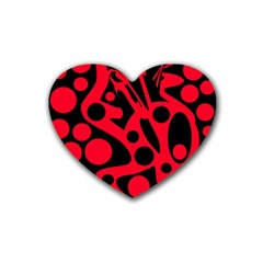 Red and black abstract decor Rubber Coaster (Heart)