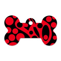 Red and black abstract decor Dog Tag Bone (Two Sides)