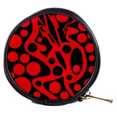Red and black abstract decor Mini Makeup Bags
