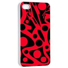 Red and black abstract decor Apple iPhone 4/4s Seamless Case (White)