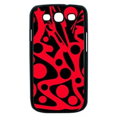 Red and black abstract decor Samsung Galaxy S III Case (Black)
