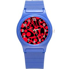 Red and black abstract decor Round Plastic Sport Watch (S)