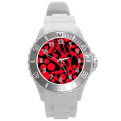 Red and black abstract decor Round Plastic Sport Watch (L)