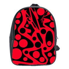 Red and black abstract decor School Bags (XL)