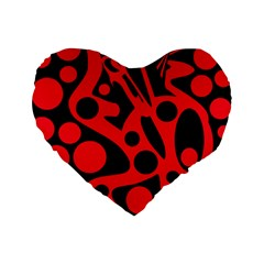 Red and black abstract decor Standard 16  Premium Heart Shape Cushions