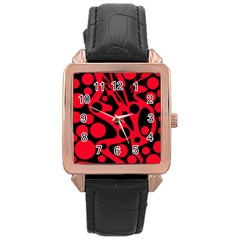 Red and black abstract decor Rose Gold Leather Watch