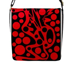 Red and black abstract decor Flap Messenger Bag (L)