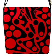 Red and black abstract decor Flap Messenger Bag (S)