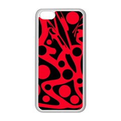 Red and black abstract decor Apple iPhone 5C Seamless Case (White)