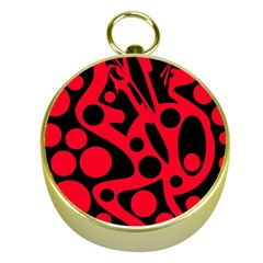 Red and black abstract decor Gold Compasses