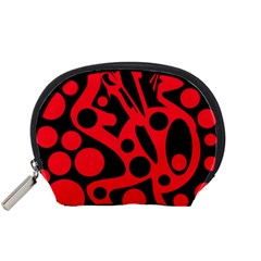 Red and black abstract decor Accessory Pouches (Small)