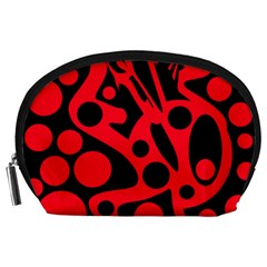 Red and black abstract decor Accessory Pouches (Large)