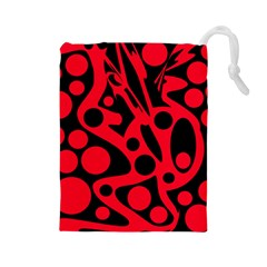 Red and black abstract decor Drawstring Pouches (Large)