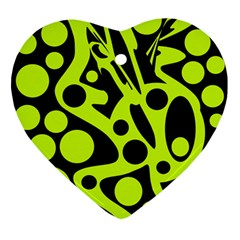 Green and black abstract art Ornament (Heart)