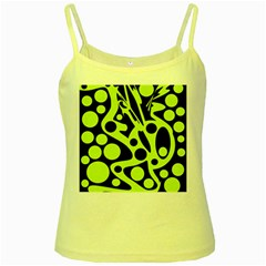 Green and black abstract art Yellow Spaghetti Tank