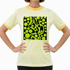 Green and black abstract art Women s Fitted Ringer T-Shirts