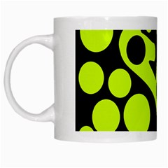 Green and black abstract art White Mugs