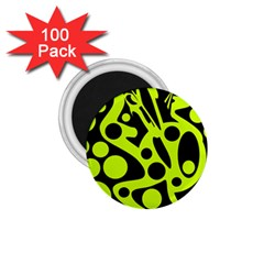 Green and black abstract art 1.75  Magnets (100 pack)