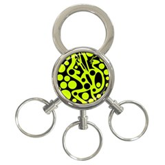 Green and black abstract art 3-Ring Key Chains