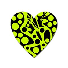 Green and black abstract art Heart Magnet
