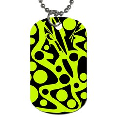 Green and black abstract art Dog Tag (One Side)