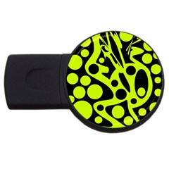 Green and black abstract art USB Flash Drive Round (1 GB)