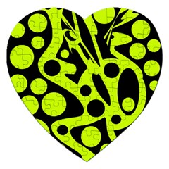 Green and black abstract art Jigsaw Puzzle (Heart)