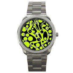 Green and black abstract art Sport Metal Watch
