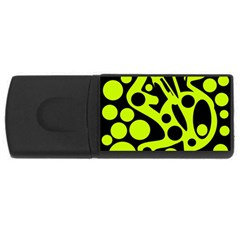 Green and black abstract art USB Flash Drive Rectangular (4 GB)