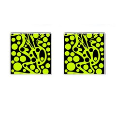 Green and black abstract art Cufflinks (Square)