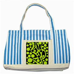 Green and black abstract art Striped Blue Tote Bag