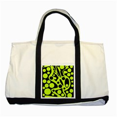 Green and black abstract art Two Tone Tote Bag